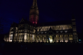 Abbey at night in Salisbury