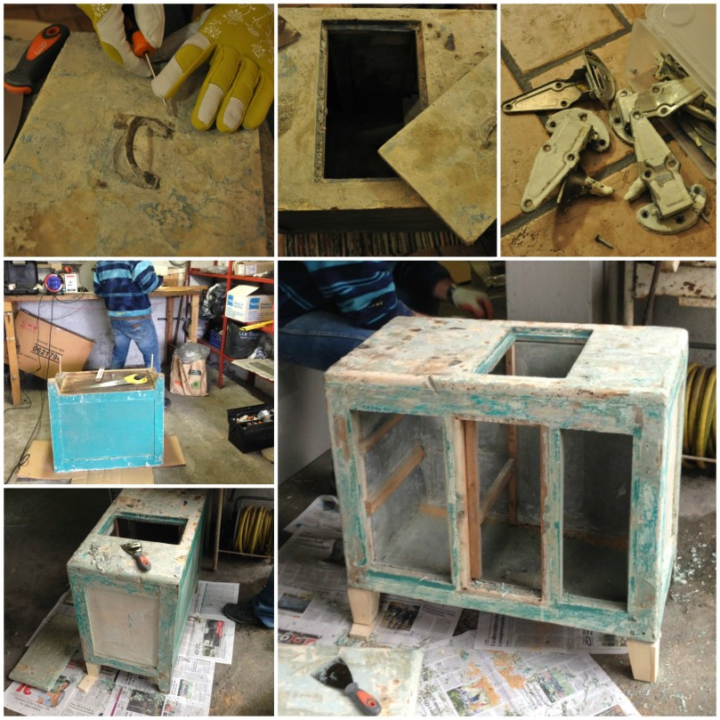 Icebox restoration: details under the paint and new legs